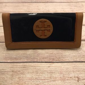 Tory Burch Patent Leather Navy Clutch Wallet Bag